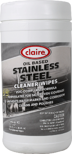 Sprayway-Claire 993 Stainless Steel Wipes - 40 Wipes